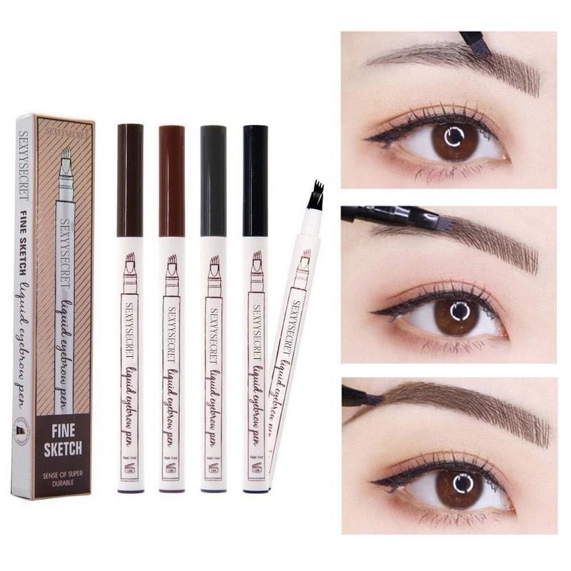 Waterproof Microblading Pen Paint For Eyebrow Tattoo Pen 4 Heads Liquid Eye Brow Makeup Ink Pencil Beauty Cosmetic Long Lasting