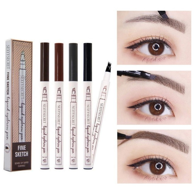 Waterproof Microblading Pen Paint For Eyebrow Tattoo Pen 4 Heads Liquid Eye Brow Makeup Ink Pencil Beauty Cosmetic Long Lasting