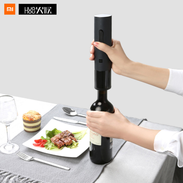 Original Xiaomi Mijia Huohou Automatic Red Wine Bottle Opener Kit Electric Corkscrew With Foil Cutter Cork Out Tool Fast Open
