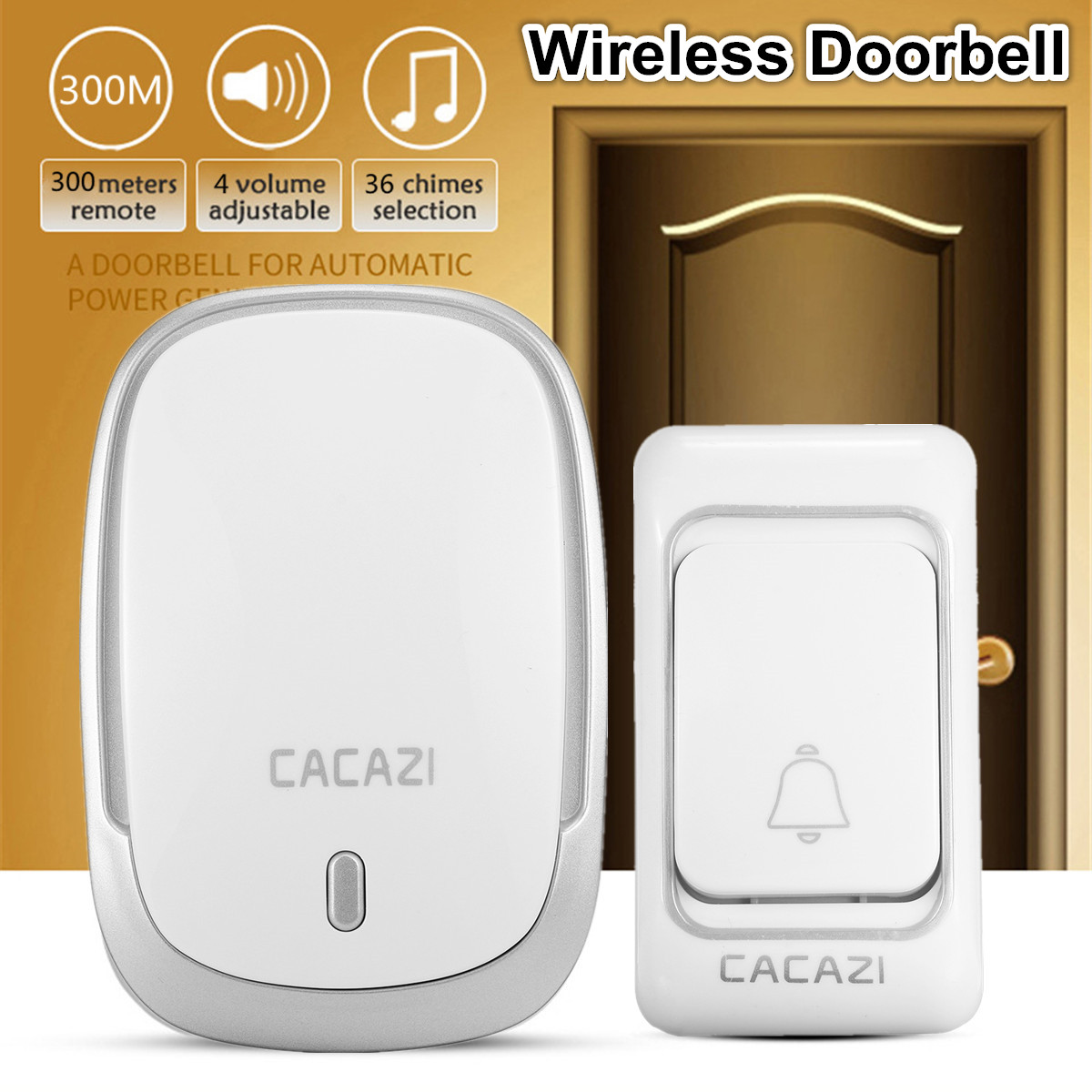 220V EU Plug 300M Waterproof LED Intelligent Home Wireless Doorbell 36 Songs 36 Music Door Ring for Homes Security Anti-interfer220V EU Plug 300M Waterproof LED Intelligent Home Wireless Doorbell 36 Songs 36 Music Door Ring for Homes Security Anti-interfer