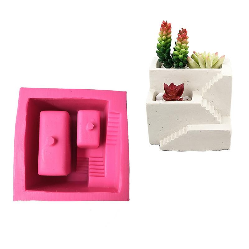 Nordic Style Silicone Mold Small House Stairs Shaped Cement Flower Pot Fleshy Plant Bonsai Mould Home