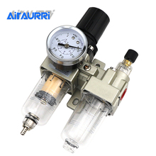 цена на AC2010-02 1/4PT SMC model manual drain type compressing air filter pneumatic gas source processor two joint oil-water separator
