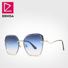 DENISA 2019 NEW UV400 Retro Big Sunglasses Women Brand Designer Oversized Polygo