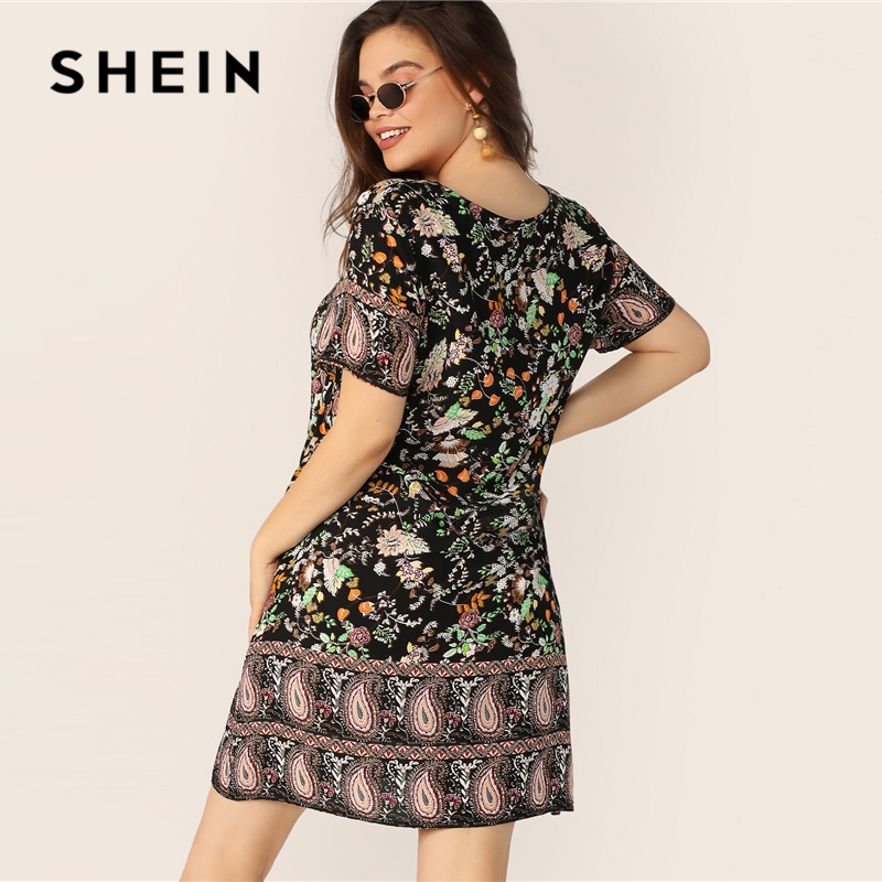 SHEIN Plus Size Multicolor Floral And Paisley Print Tunic Dress 2019 Women Summer Boho Shift Short Sleeve Round Neck Dresses 1