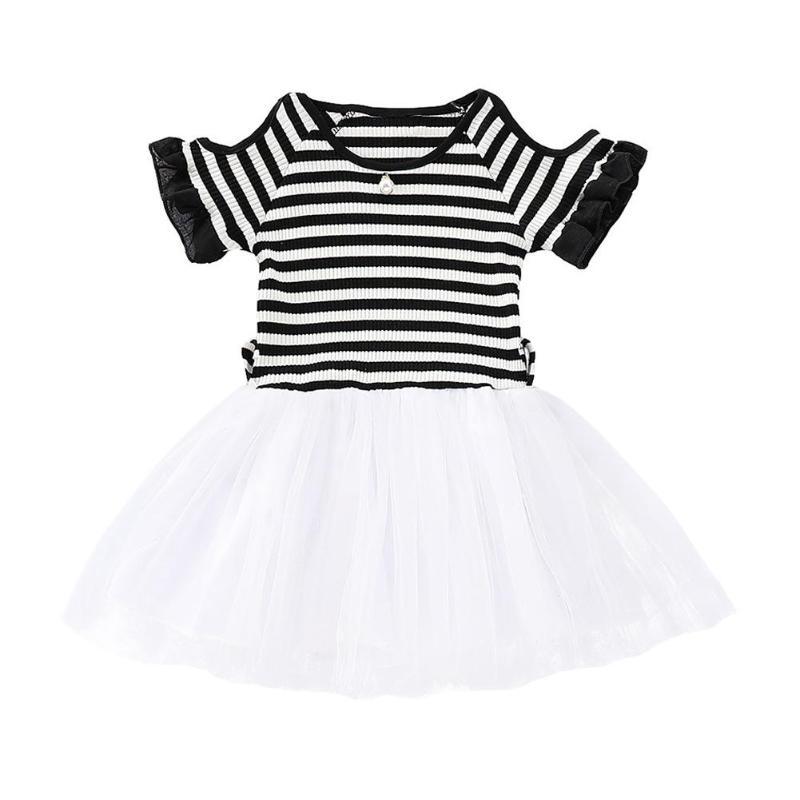 Полосатые платья с открытыми плечами для маленьких девочек, с круглым вырезом, с милой вышивкой, газовая одежда для малышей