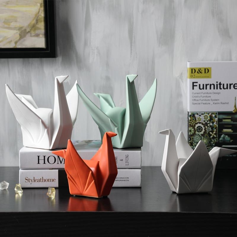 Nova nordic criativo moderno abstrato cerâmica origami estátua estatueta animal escultura para casa decorações presentes 1