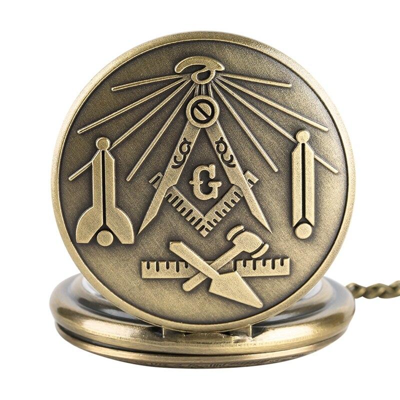 Бронзовые масонские хромированные угольник и циркуль, Ретро Подвеска для ожерелья, кварцевые карманные часы, лучшие подарки для масонницы