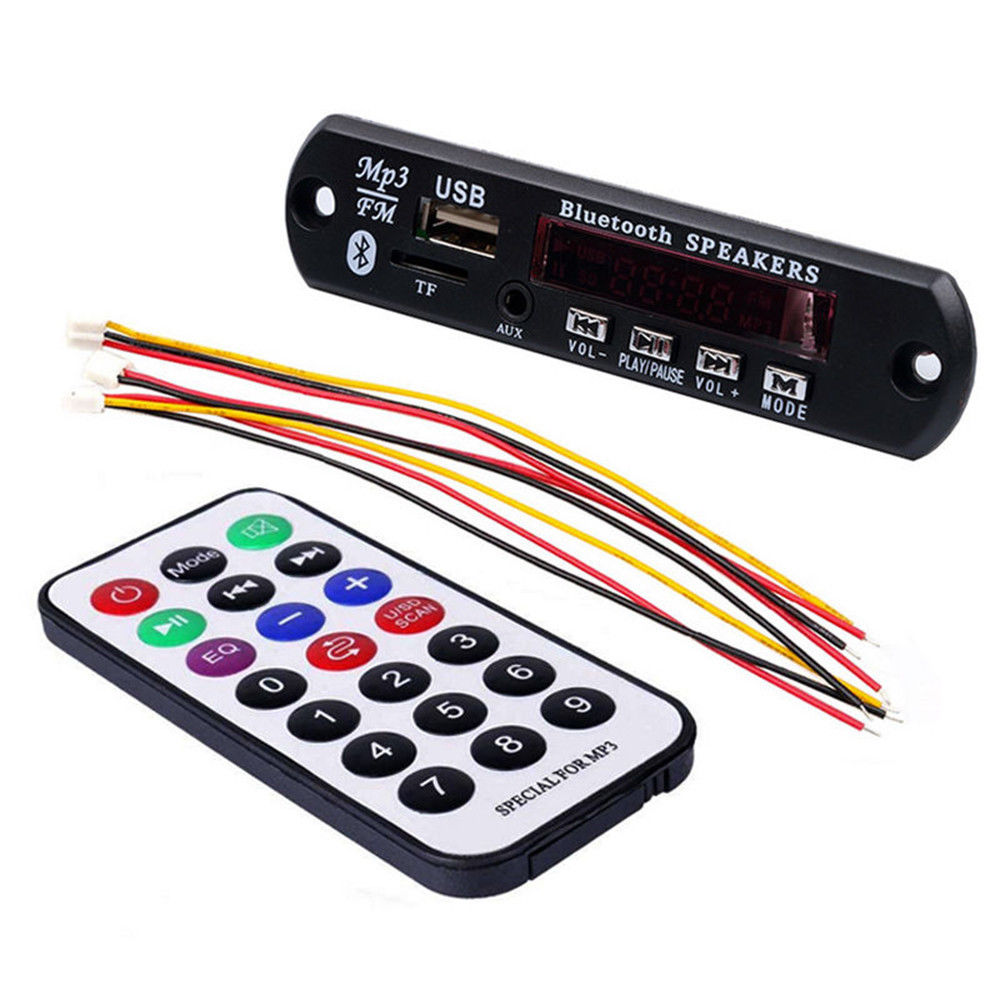 New Car USB Bluetooth MP3 7-12V WMA FM AUX Decoder Board Audio Module Support TF SD Card Decoder Board with Remote Control