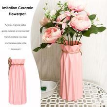 2f7d39a81ab Origami vase en plastique Pot de Fleurs panier de fleurs Blanc En Céramique  Imitation fleur artificielle