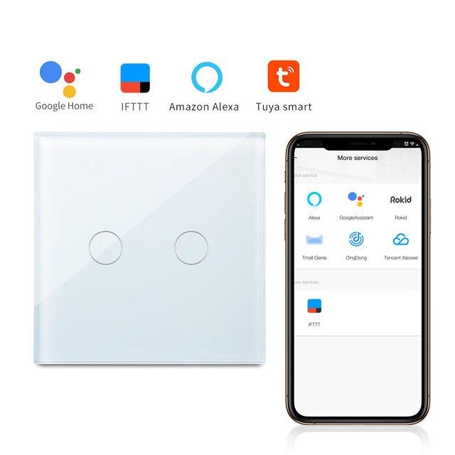 Interruptor de pared de Panel de vidrio inalámbrico de automatización de hogar inteligente con interruptor táctil de 1 modo bingoelece 2 bandas por teléfono móvil