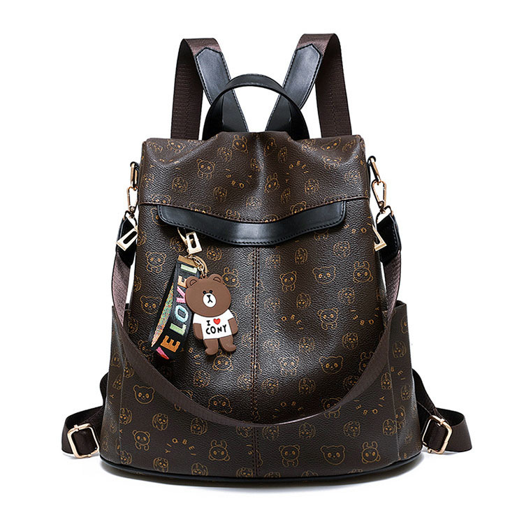 2019 Sale Mochilas Backpack Women Animal Prints Retro Female Schoolbags Bear Pendant Casual Book Bags Ladies Double Shoulder