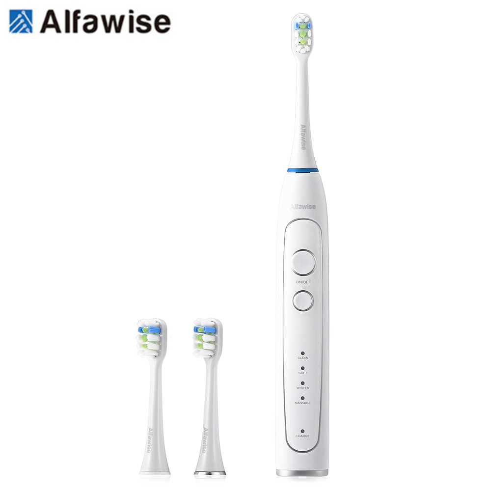 Alfawise RST2056 Sonic Electric Toothbrush Intelligent 2-Min Timing With 3 Brush Heads Charger Base Sonic Vibration Toothbrush
