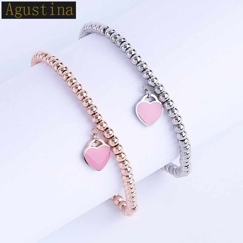 Bracelets & Bangles stainless steel love pendant tiff Charm with love heart Bracelet  For Women Pendant Beading Bracelet Brand