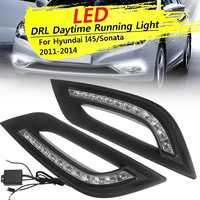 12v Car LED DRL for Hyundai I45 Sonata 2011 2012 2013 2014 Daytime Running Lights Driving Fog Lamp Controller Wiring Pair Black