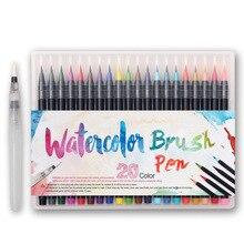 Conjunto de canetas pintura macia com 20 cores, conjunto de canetas marcadores de aquarela profissional para adultos e crianças, marcador de arte