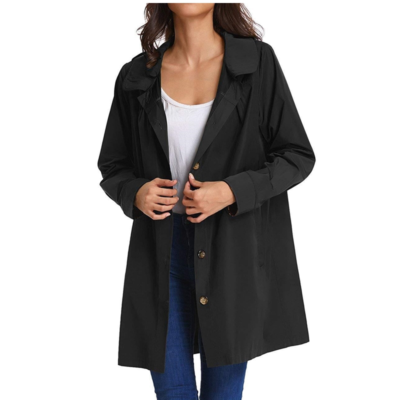 New Women   Trench   Coat Autumn Winter Solid   Trench   Female Single Breasted Cardigan Coats Long Wind-proof wind coat Hooded Outwear