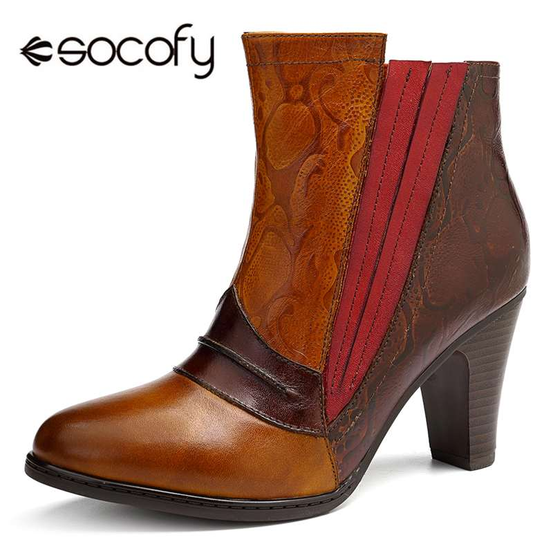 109e4badc04c3 Socofy Vintage Genuine Leather Boots Women Shoes Woman Retro Cowgirl Ankle  Boots For Women Slip On Block High Heels 7cm Booties