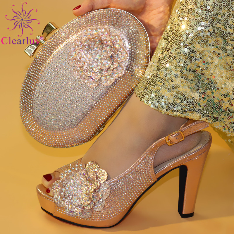 Nigerian Shoes And Matching Bags Set Decorated With Rhinestone Slip On Shoes For Women High Heel Luxury Women Shoes For Party