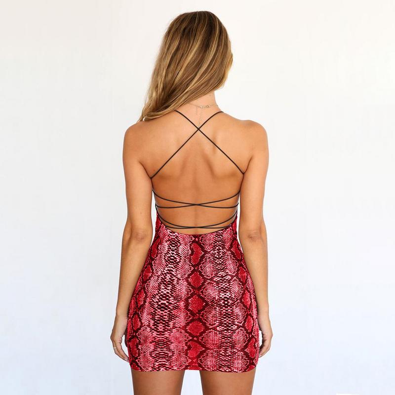 Women Sexy Tight Sleeveless Spaghetti Strap Backless Strap Bodycon Dress Fashionable Snake-Skin Print Mini Summer Dress Leopard