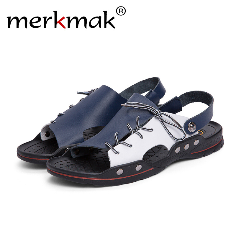 Merkmak Breathable Men Sandals Genuine Leather Summer Beach Shoes Flip Flops Outdoor Slippers Causal Shoes Plus Size 38-48