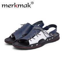 Merkmak Breathable Men Sandals Genuine Leather Summer Beach Shoes Flip Flops Outdoor Slippers Causal Plus Size 38-48