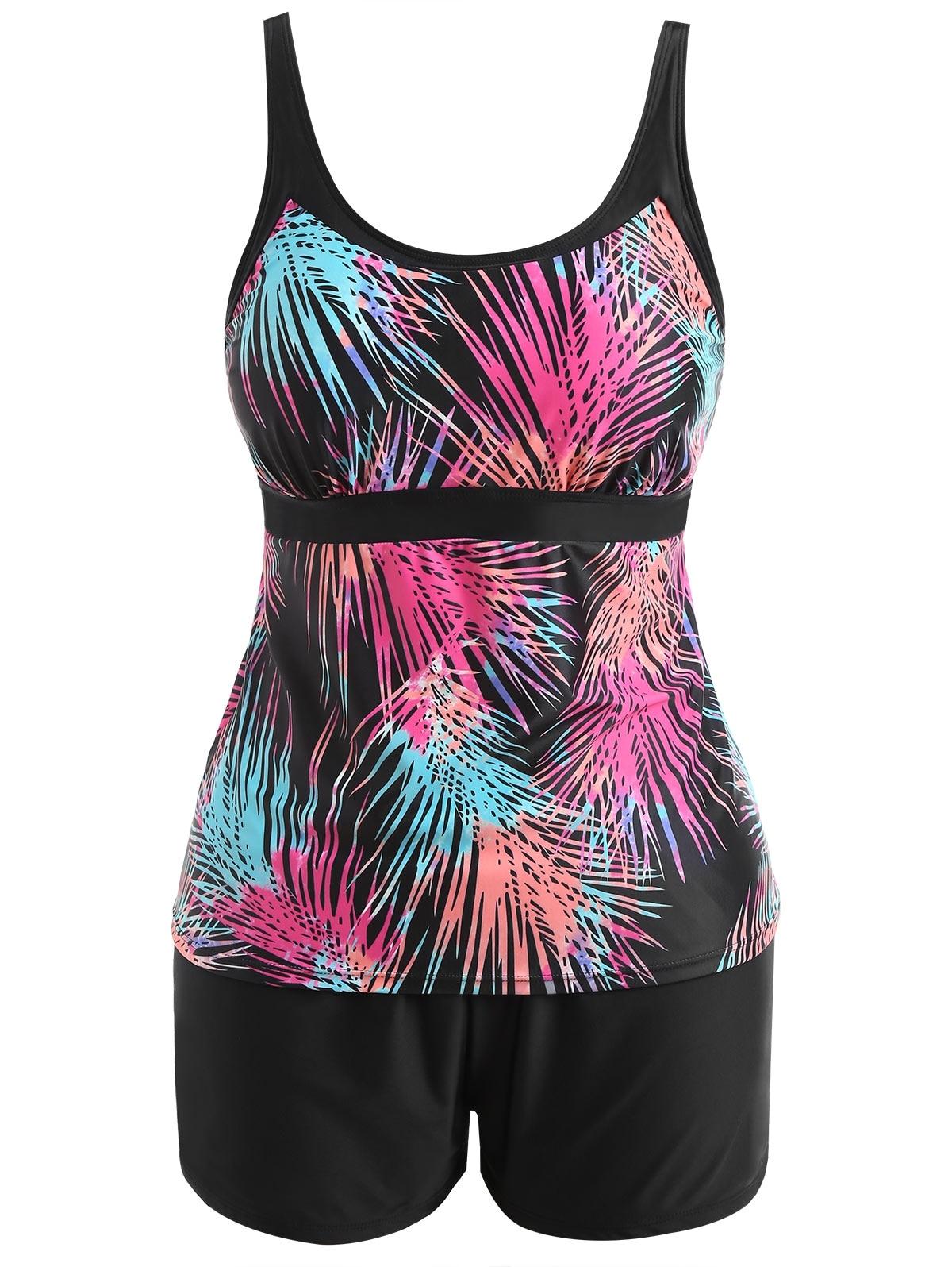 2 Pieces Swimsuit Bikinis Set Tankini with Shorts Women Leaf Ombre Swimwear Plus Big Size Bathing Suit Cover Ups Beachwear