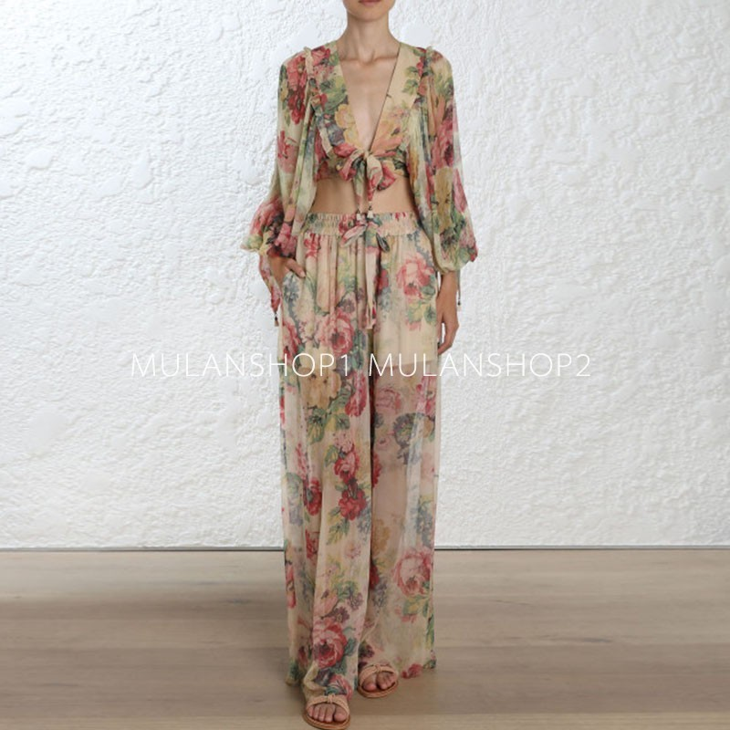 DEAT 2018 new fashion women clothes V neck bell sleeves printed V neck top and full
