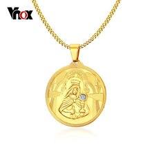 5d19bc53f169 Vnox Virgen María COLLAR COLGANTE de oro-de color de acero inoxidable para  los hombres
