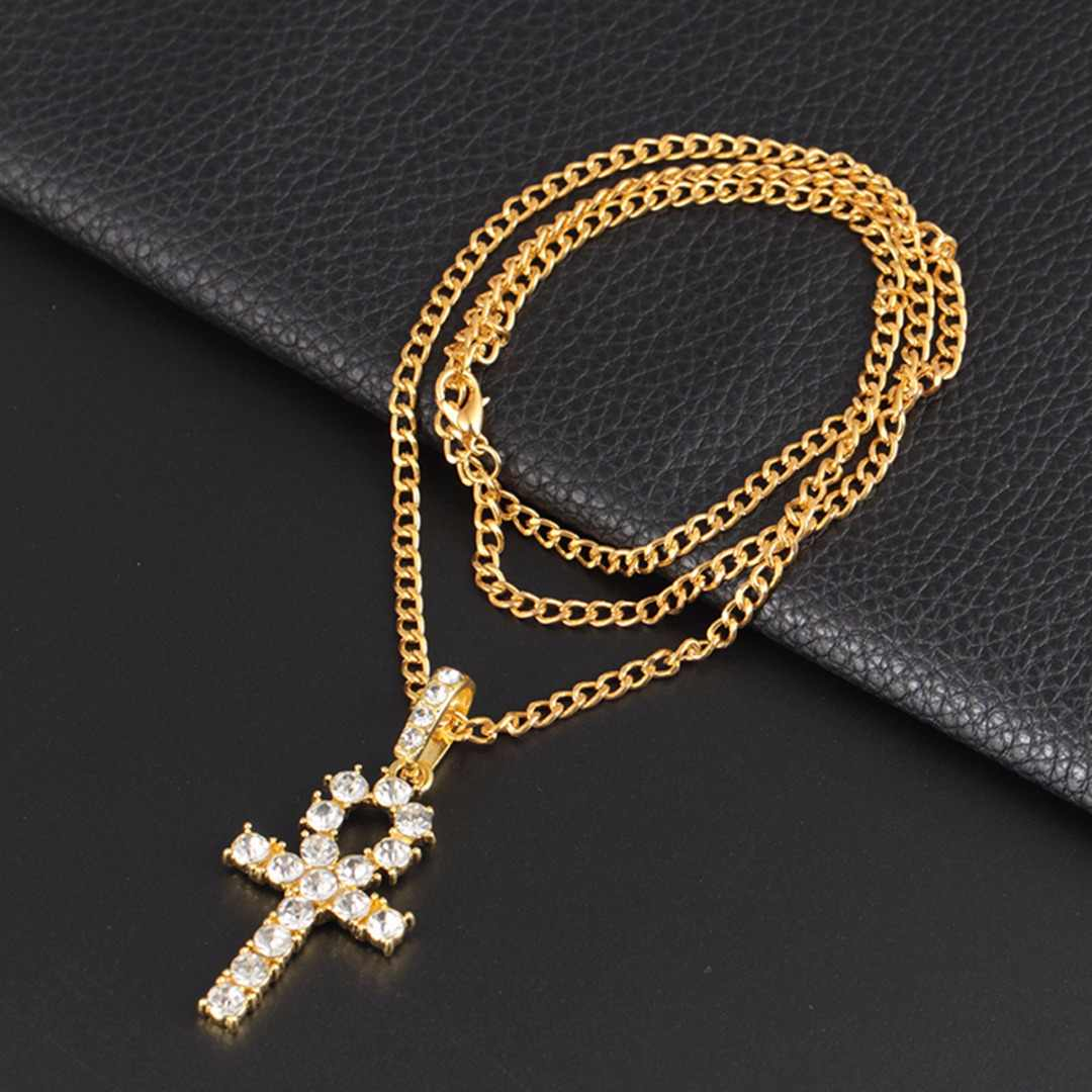 Shellhard Crystal Rhinestone Cross Pendant Necklace Gold Black Color Crucifix Long Necklaces&Pendants Charm Men Hip Hop Jewelry