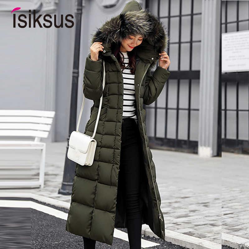 Isiksus мягкий Теплый пуховик Куртки Для женщин s зима плюс Размеры длинная  стеганая черный меховое пальто 52480c9984b2d