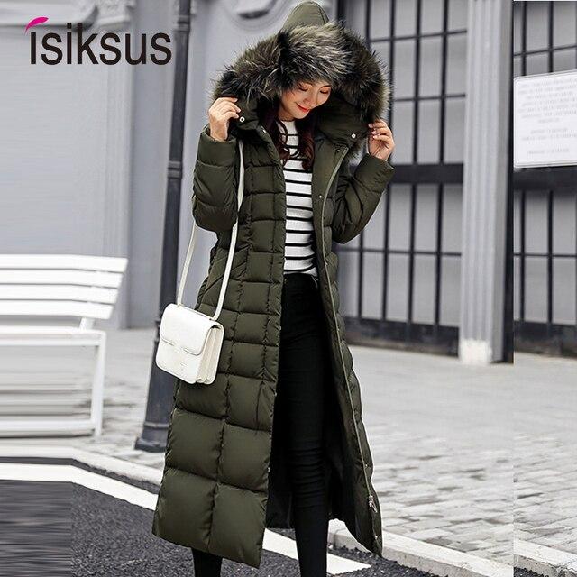 Isiksus стеганые теплые пуховики женские s зимние плюс размер длинные стеганые черные с капюшоном пальто с мехом Куртка 2018 парки для женщин WP013
