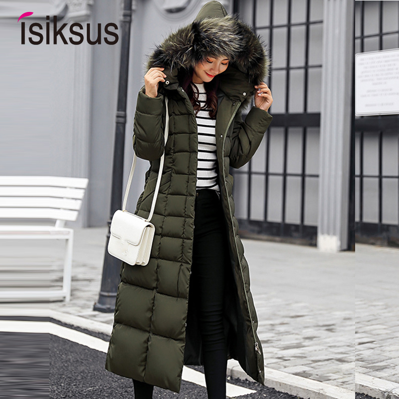 Isiksus Padded Warm Down Jackets Womens Winter Plus Size Long Quilted Black Hooded Fur Coat Jacket 2018   Parkas   for Women WP013