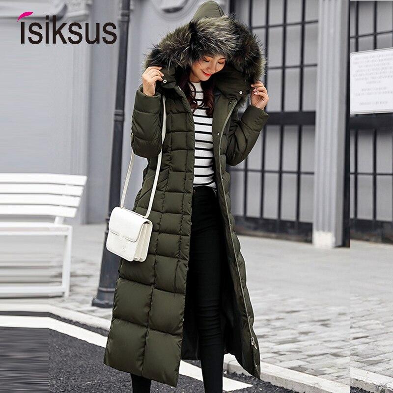 Isiksus мягкий теплый пуховик для женщин s зима размера плюс длинное стеганое черное меховое пальто с капюшоном куртка 2018 парки для женщин WP013