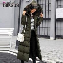 Isiksus wyściełane ciepłe kurtki puchowe damskie zimowe Plus Size długie pikowane czarne futro z kapturem kurtka 2018 parki dla kobiet WP013