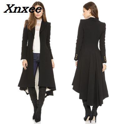 Women coat fashion European style long sleeves casual   trench   coat long Maxi dovetail windbreaker black slim   trench   coats outwear