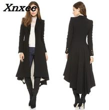 цена на Women coat fashion European style long sleeves casual trench coat long Maxi dovetail windbreaker black slim trench coats outwear