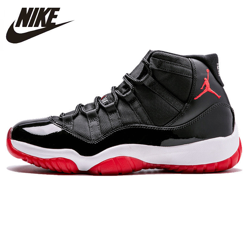 Nike Air Jordan XI Bred AJ 11 Men's Laceup Comfortble Basketball Shoes Lifestyle Male Shock Absorption  Sneakers #378037-010