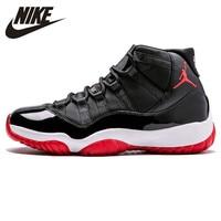 Nike Air Jordan XI Bred AJ 11 Мужская кружевная комфортная Баскетбольная обувь Lifestyle мужские амортизирующие кроссовки #378037 010