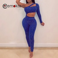 Ceremokiss Women Jumpsuit Sequin Rhinestone Diamonds Jumpsuits Long Sleeve Skinny Bodysuits Clubwear Party One Piece Romper