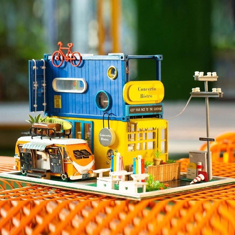 Contenedor creativo Dollhouse modelo de juguete de madera miniatura Kits de construcción de regalo-in Muñecas de porcelana from Juguetes y pasatiempos    1