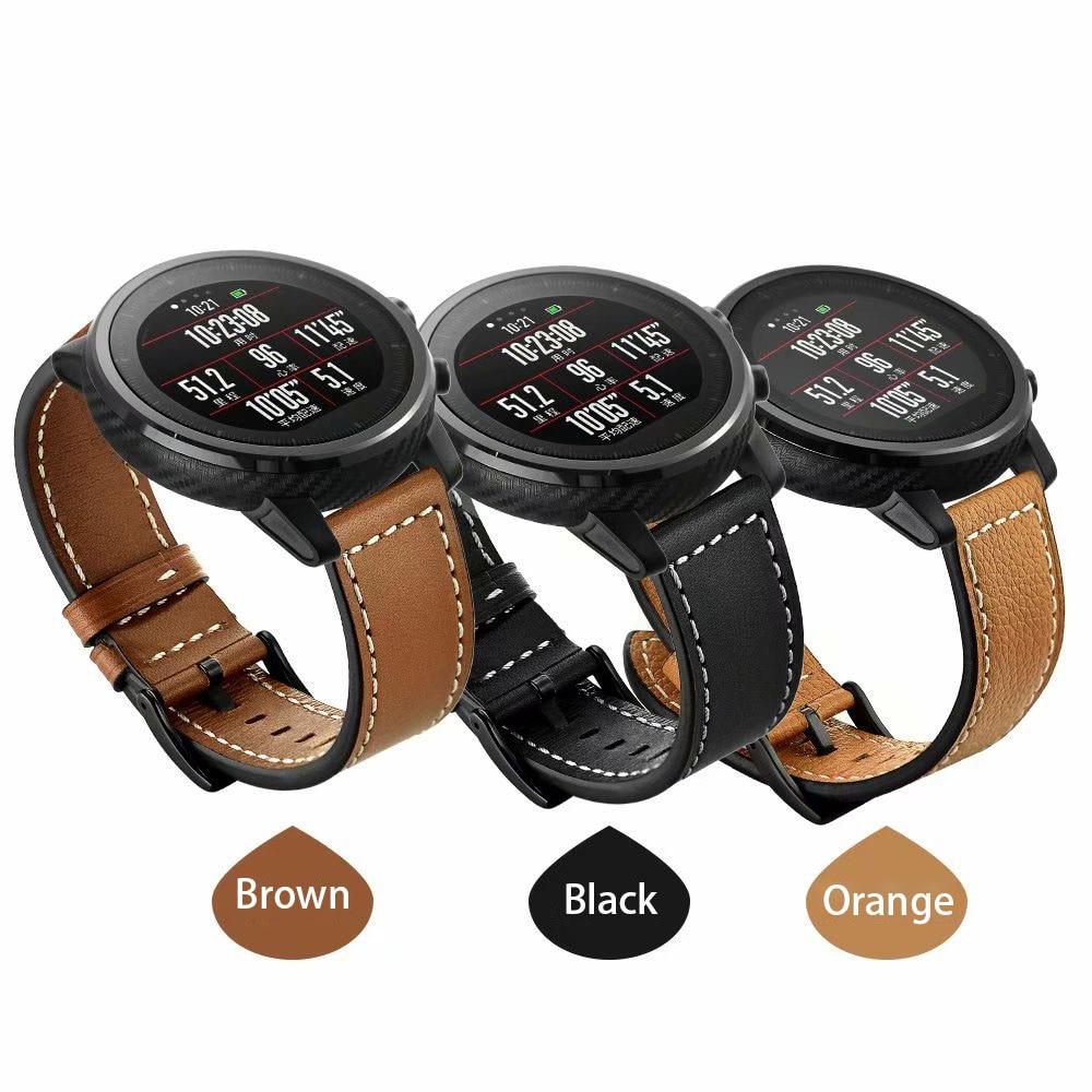 22mm bracelet de montre Pour Xiaomi Huami Amazfit 2 1 Stratos Rythme 2 Véritable bracelet de montre En Cuir Pour Les Engins S3 montre huawei 2pro tour de poignet
