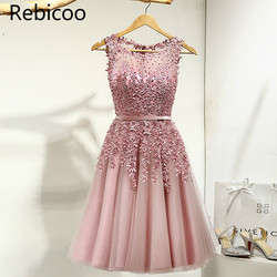 Горячая Распродажа, элегантные женские платья до колена с аппликацией из бисера, вечерние платья, розовый, красный, синий светильник