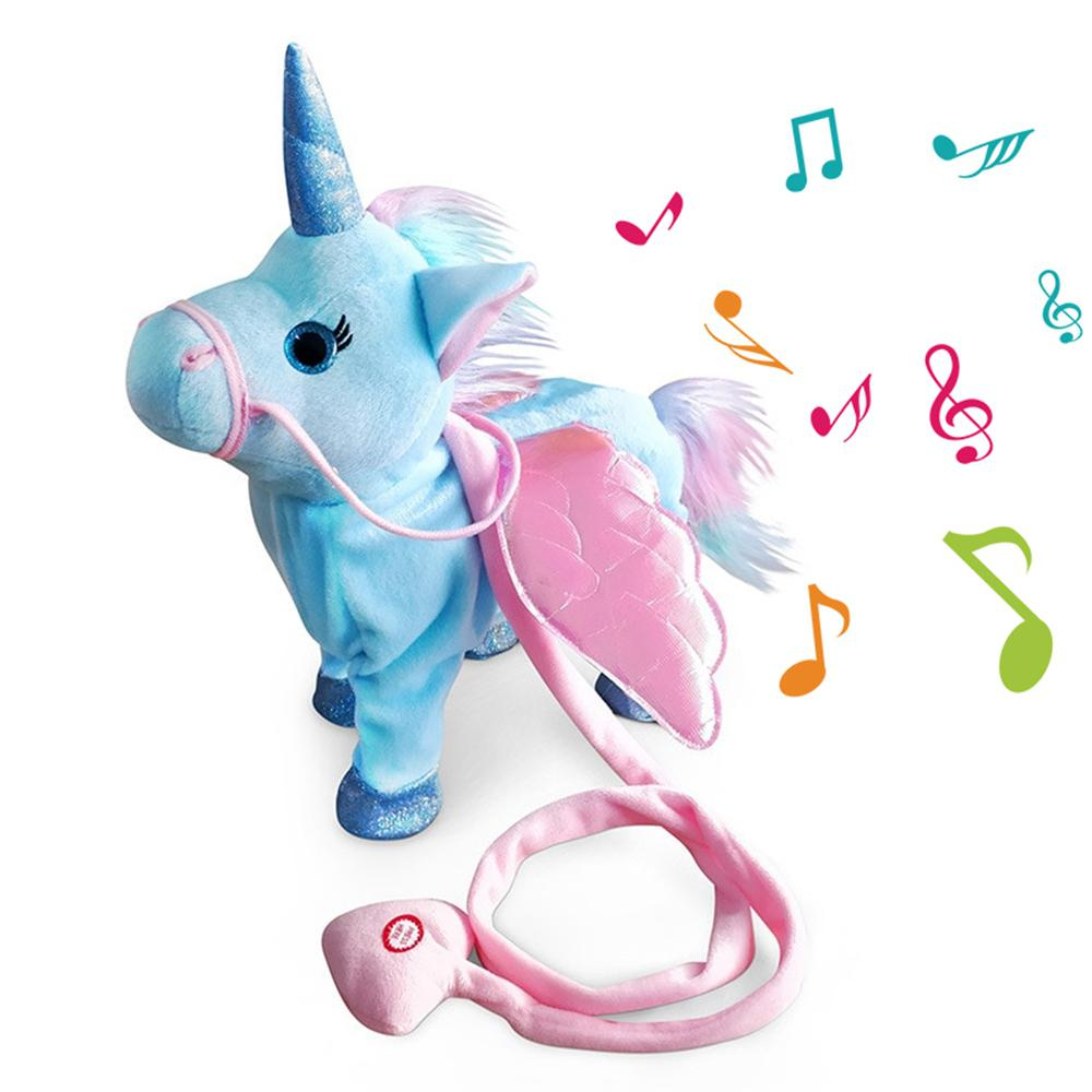 Stuffed Animals Plush Pony Toys Electronic Unicorn Toy Singing Walking Musical Unicorn Soft Toys For Baby Girl Boy Kids Toys