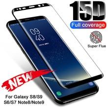 מזג זכוכית עבור Samsung Galaxy S8 S9 S7 S6 קצה בתוספת הערה 9 8 15D מלא מעוקל מסך מגן עבור סמסונג S9 S8 זכוכית סרט