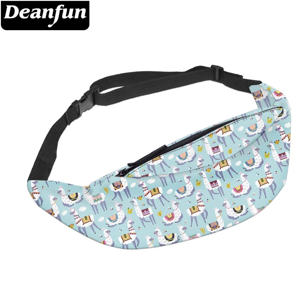 Deanfun Water Resistant Love Alpaca Man Fanny Pack Bags Travel Llama Waist Pack Adjustable Belt Hip Bum Bag  YB-39