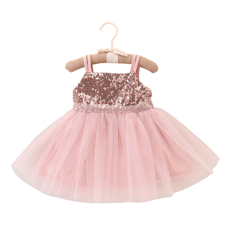 Toddler Kids Baby Girls Strap Sequined Patchwork Dress Bling Bling Tulle Tutu Party Dress Formal Dresses Ball Gown Sundress 1-5T