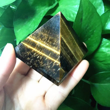 Natural Yellow Tiger Eye Pyramid Decoration Wholesale Stone Feng Shui Town House