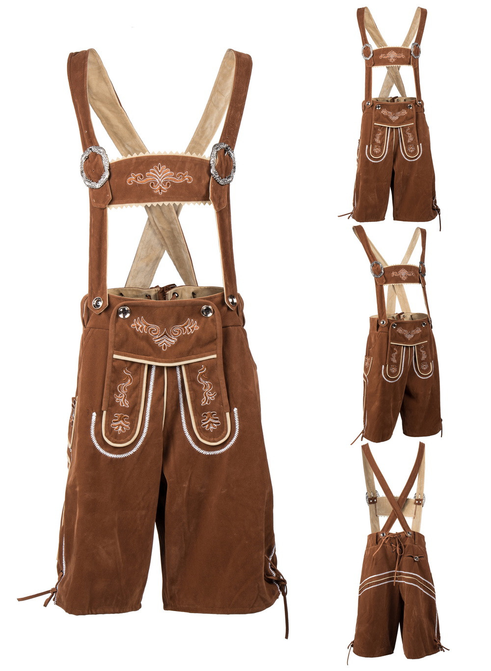 German Oktoberfest Bavarian Trachten Men's Lederhosen Shorts Beer Guy Costume