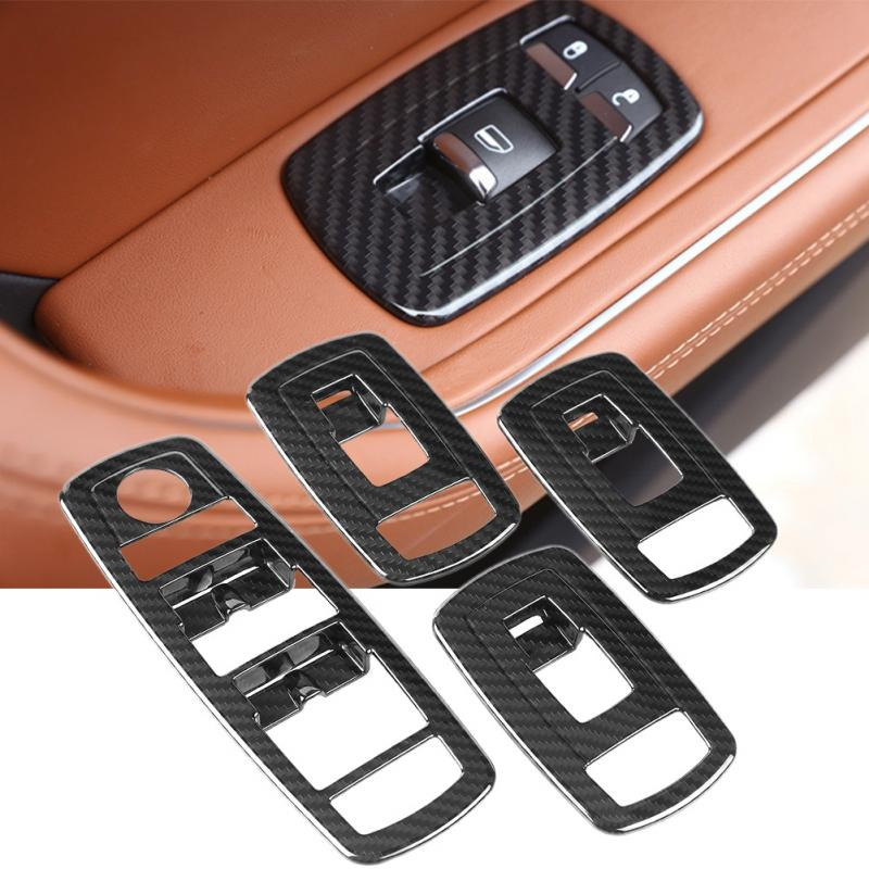4Pcs Carbon Fiber Style Car Window Switch Panel Lift Button Frame Cover Trim for Maserati Levante 2017 2018 Car Accessories