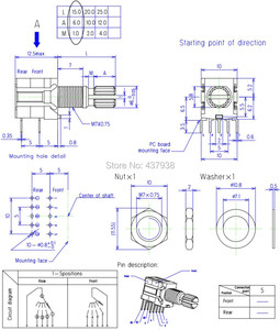 Image 5 - 5pcs RS1010 band switch rotary switch gear change switch 1 pole 5 position 2 pole 4 position 3 position